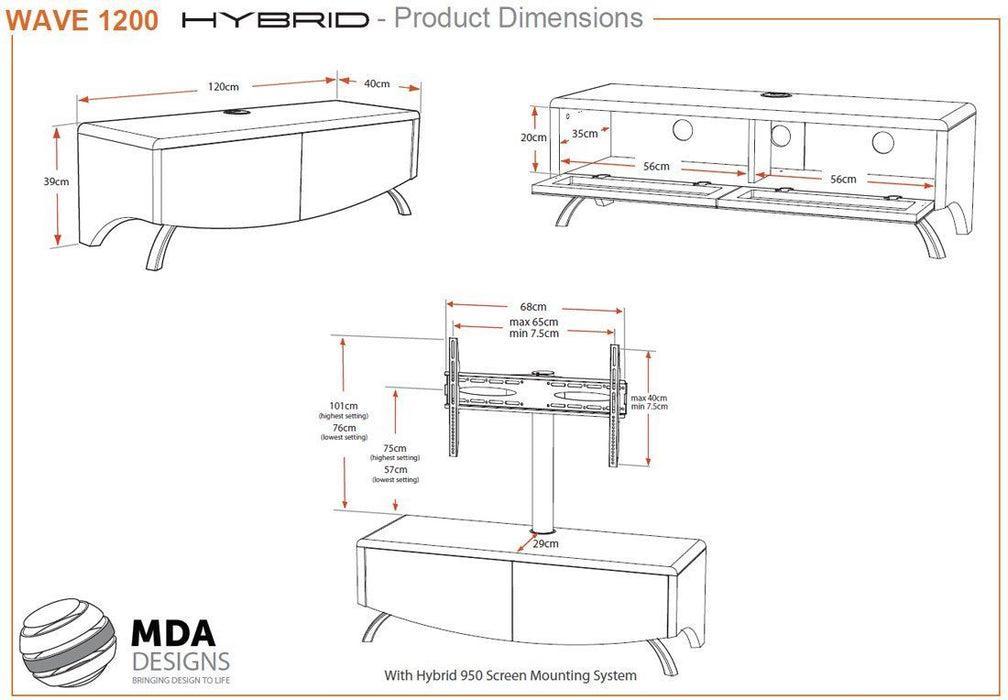 "MDA Designs Wave 1200 Hybrid White TV Cabinet for up to 60"" Screens - Insta Living"