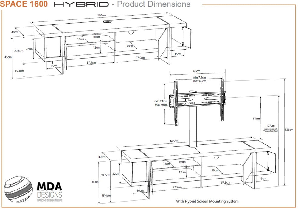 "MDA Designs Space 1600 Hybrid Black TV Cabinet for up to 65"" Screens - Insta Living"