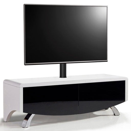 "MDA Designs Wave 1200 Hybrid White and Black TV Cabinet for up to 60"" Screens - Insta Living"