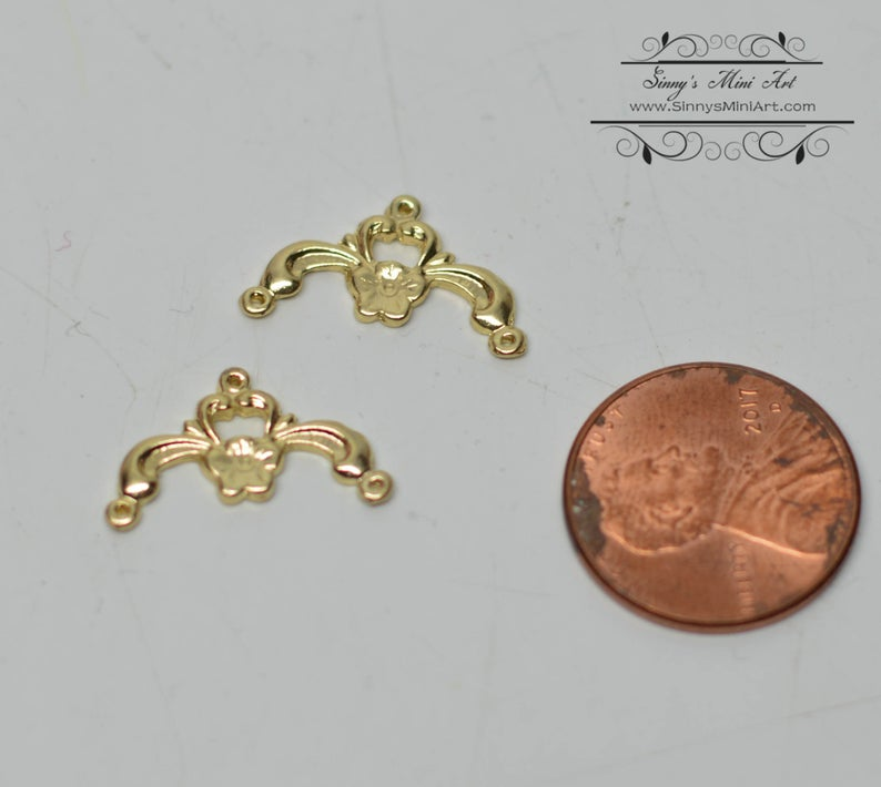 1:12 Dollhouse Miniature Bell Pulls 2 Brass AZ S1126