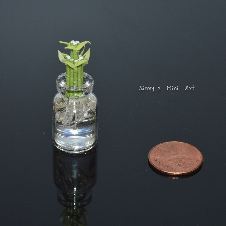 Discontinued 1:12 Miniature Lucky Bamboo in Glass Vase/ dollhouse Miniature Plant BD A054