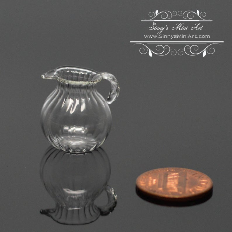 1:12 Dollhouse Miniature Ribbed Glass Pitcher BD HB462