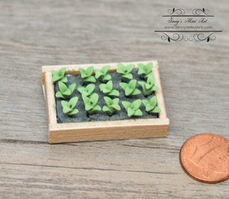 1:12 Dollhouse Miniature Seedlings in Flat / Miniature Garden BD A150