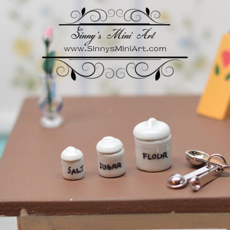 1:12 Dollhouse Miniature White Canister Set Flour Sugar, Salt BD B321