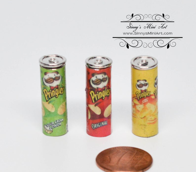 Dollhouse Miniature Pringles Potato Chip Can Snack Set of Three D97