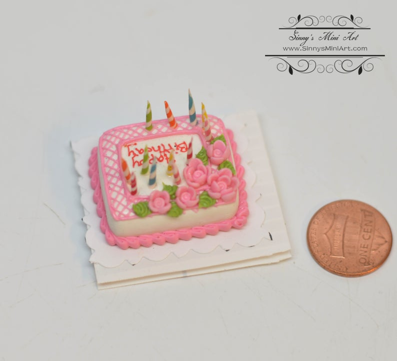 1:12 Dollhouse Miniature Happy Birthday Sheet Cake with Candles K2316