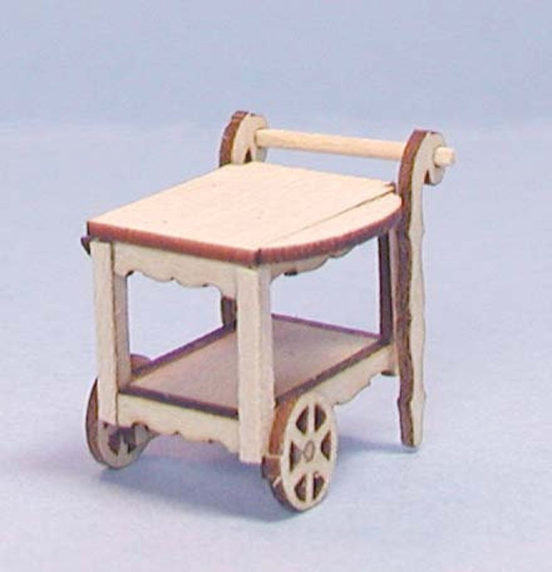 1:48 Dollhouse Miniature Tea Cart Kit/Quarter Scale Miniatures KBM Q116