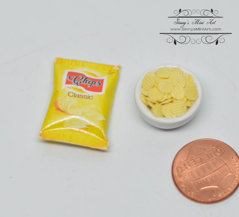 1:12 Dollhouse Miniature Lays Potato Chips Bag and Bowl BD K2695