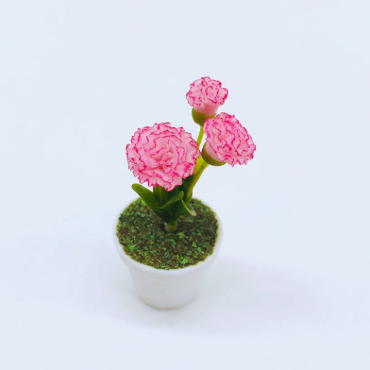 1:12 Dollhouse Miniature Pink Carnation Flowers in Clay Planter, HMN 647