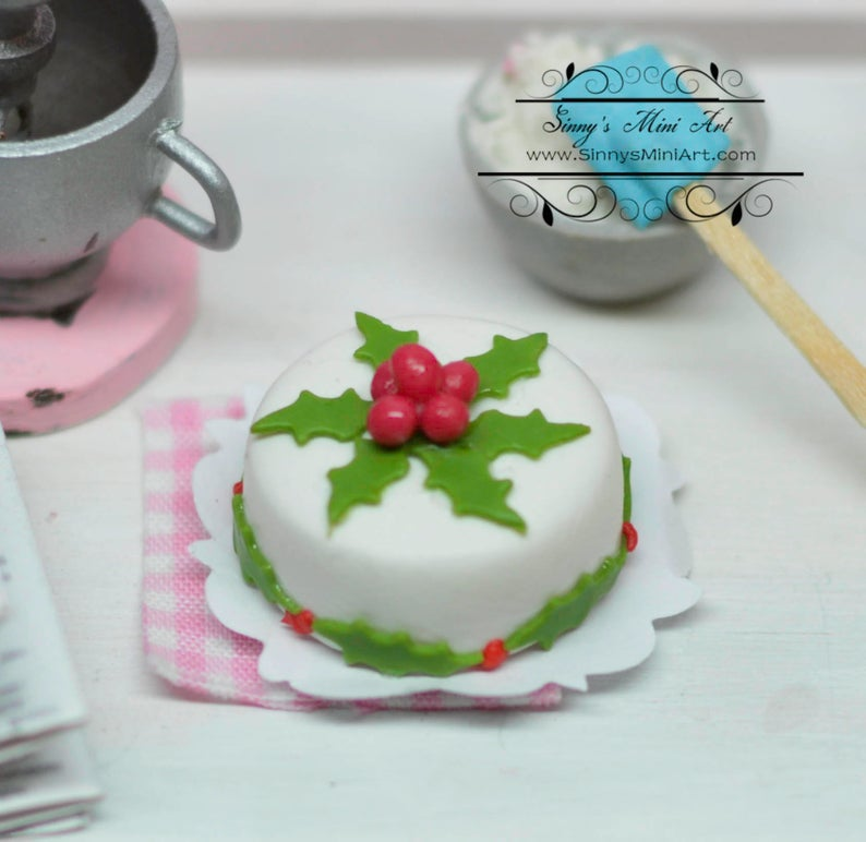 1:12 Dollhouse Miniature Christmas Floral Theme Cake BD K2097