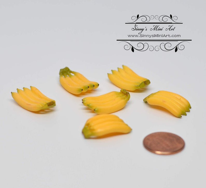 1:12 Dollhouse Miniature Bananas 6 PC/ Miniature Fruit AZ A3336