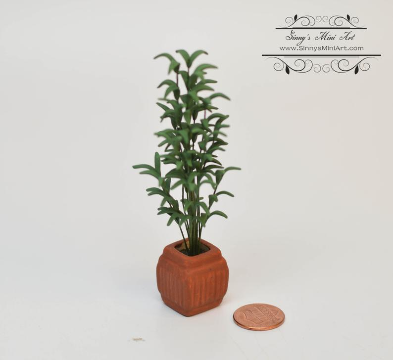1:12 Dollhouse Miniature Tall Palm in Square Clay Pot/ Miniature Palm Tree BD A1084