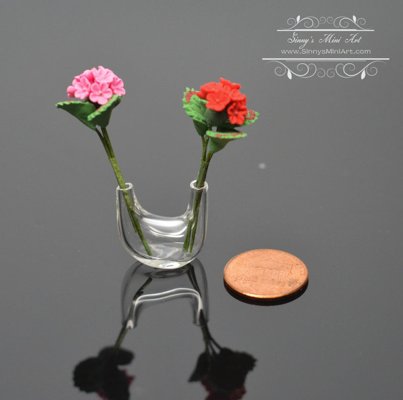 1:12 Dollhouse Miniature Geraniums in Double Necked Vase BD R601