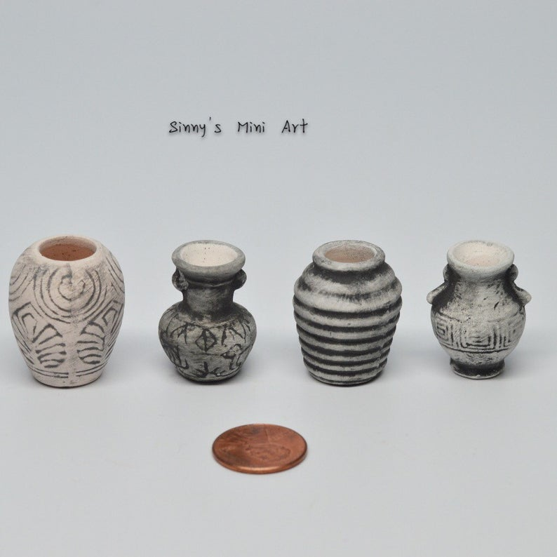 1:12 A Set (4 PC) of Dollhouse Miniature Antique Vase C43
