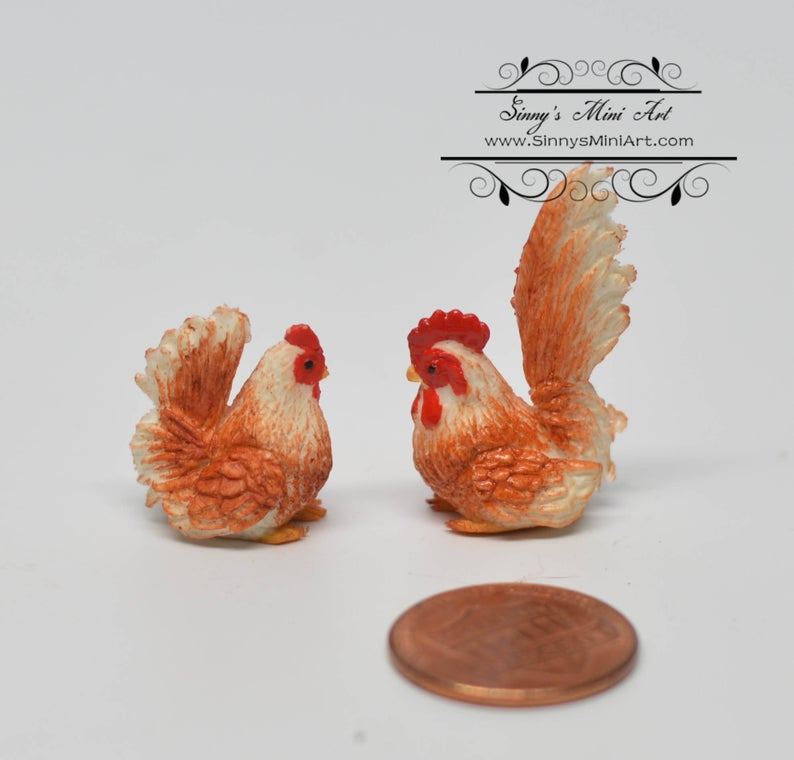 1:12 Dollhouse Miniature Red Cock and Hen BD MF008