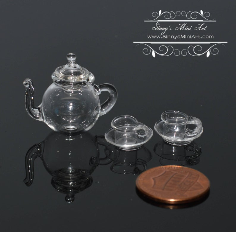 1:12 Miniature Glass Teapot with Lid and Two Cups with Two Saucers BD HB160