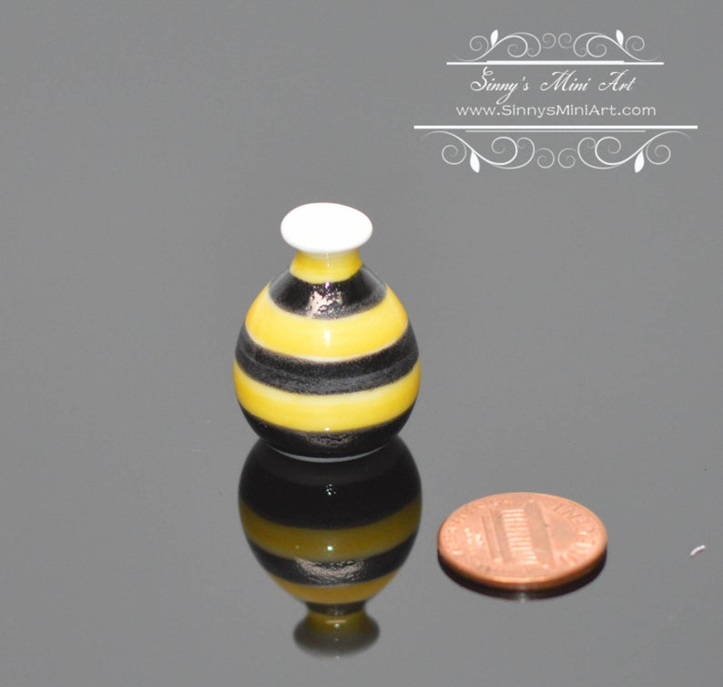 Discontinued 1:12 Dollhouse Miniature Bee Striped Ceramic Vase BD B472