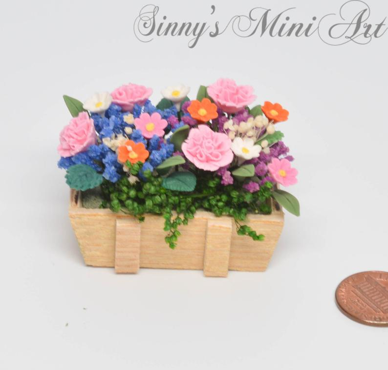 1:12 Dollhouse Miniature Camations & Flowers in Rustic Planter BD A039