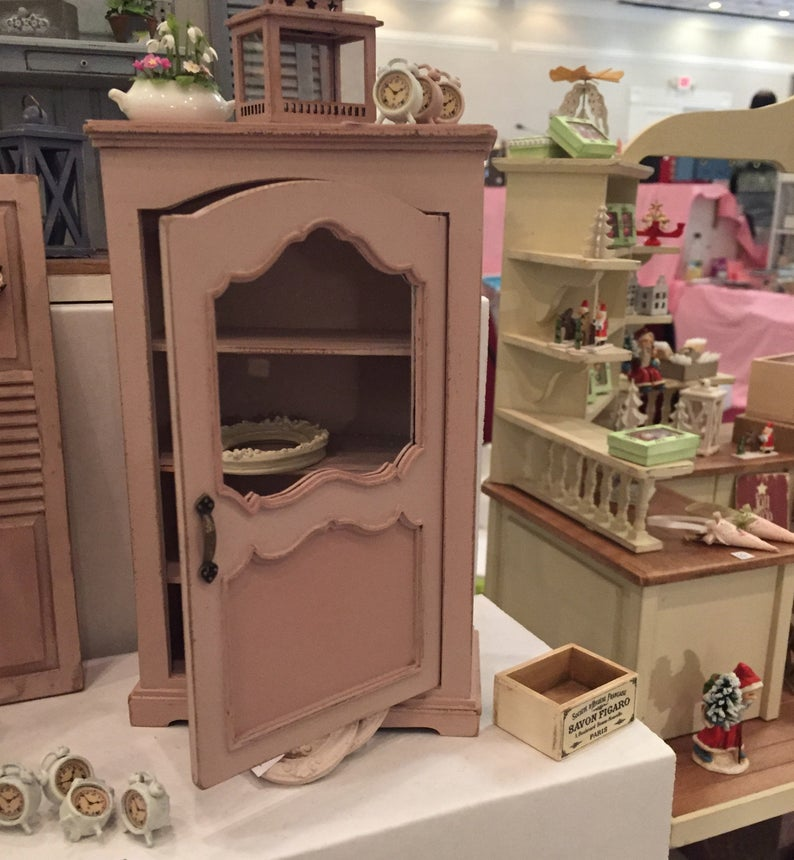 1:12 Dollhouse Miniature Romantic Country Style Cabinet Kit/ Dollhouse Cabinet PUP 710