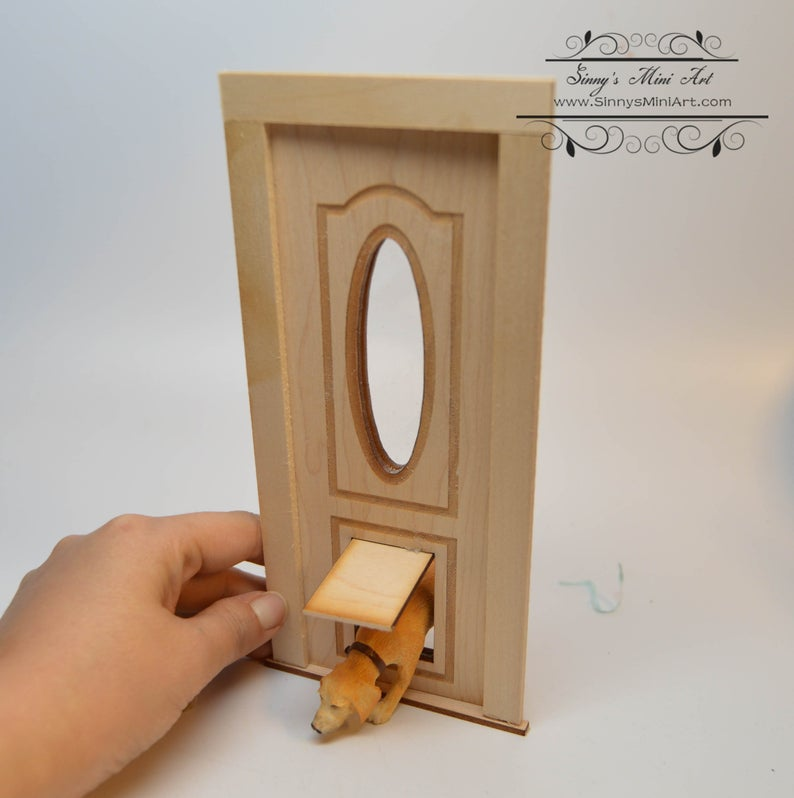 1:12 Dollhouse Dogie Door with Oval Window / Miniature Door AM 2313pet