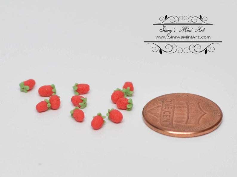 Dollhouse Miniature Set of 12 Small Red Strawberries  BD P011