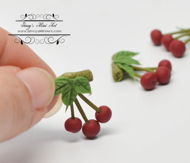 1:12 Dollhouse Miniature 3 Cherries on Stem with Leaf BD P020