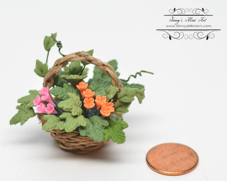 1:12 Dollhouse Miniature Pink and Orange Flowers in Handbasket BD A1042