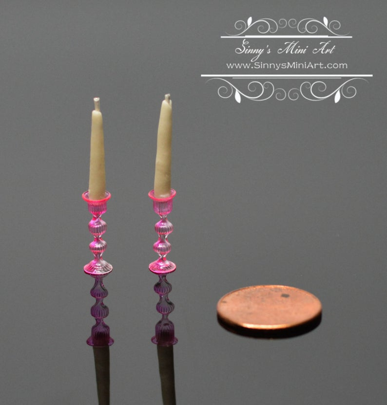 1: 12 Dollhouse Miniature Candles with Pink Candlestick Holders, Glass BD H189