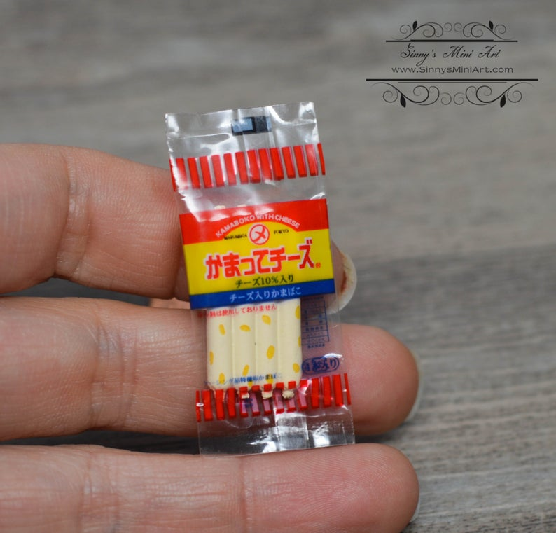 1:12 Dollhouse Miniature Japanese Fish Sausage in Bag/ Miniature Food A36