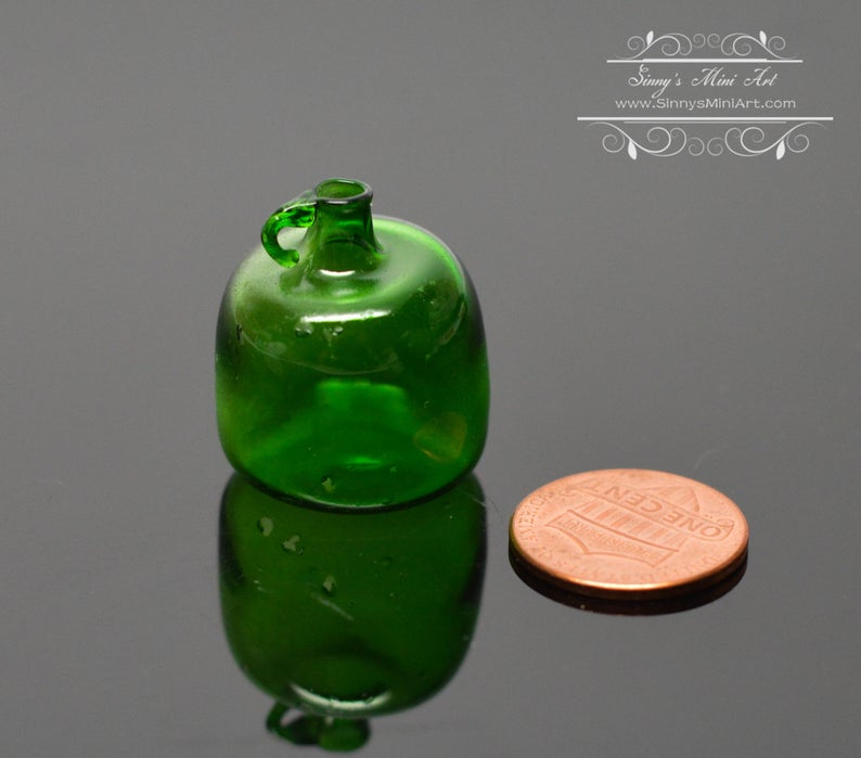 1:12 Dollhouse Miniature Large Green Glass Jug with Handle BD HB412