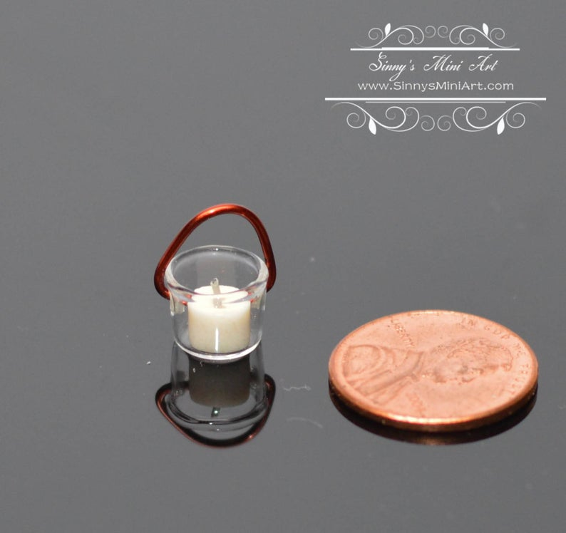 1:12 Dollhouse Miniature Glass Hanging Lantern with White Candle BD H104