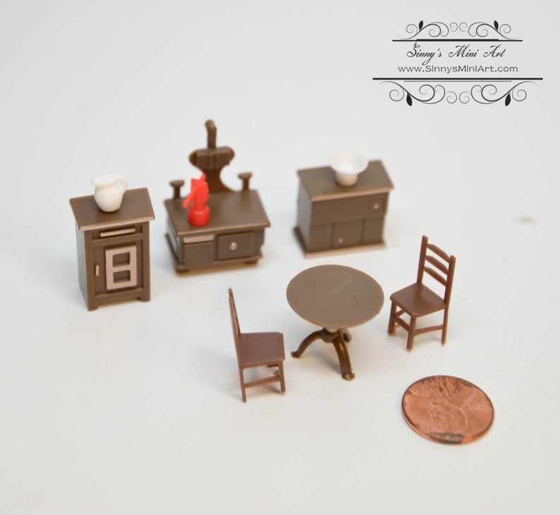 1:48 Dollhouse Miniature Kitchen Furniture Set, 9 Pieces AZ G1219