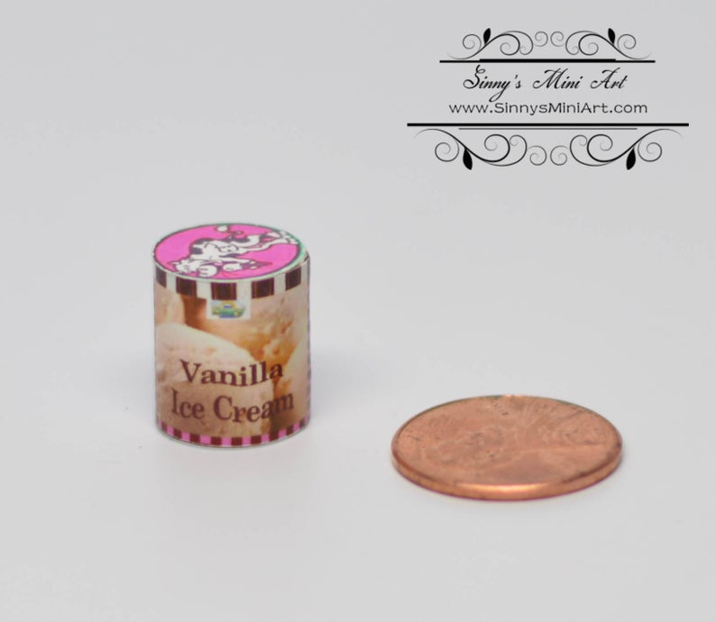 1:12 Dollhouse Miniature Vanilla Ice Cream Tub BD H516