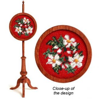 1:12 Dollhouse Miniature Winter Wreath Needlepoint Polescreen Kit JGD 2904