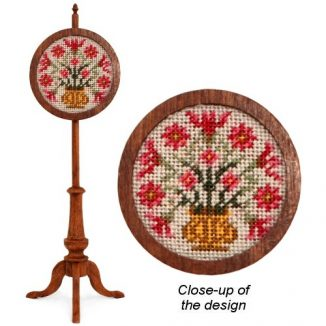 1:12 Dollhouse Miniature Moghul Poppies Needlepoint Pole Screen Kit JGD 2905
