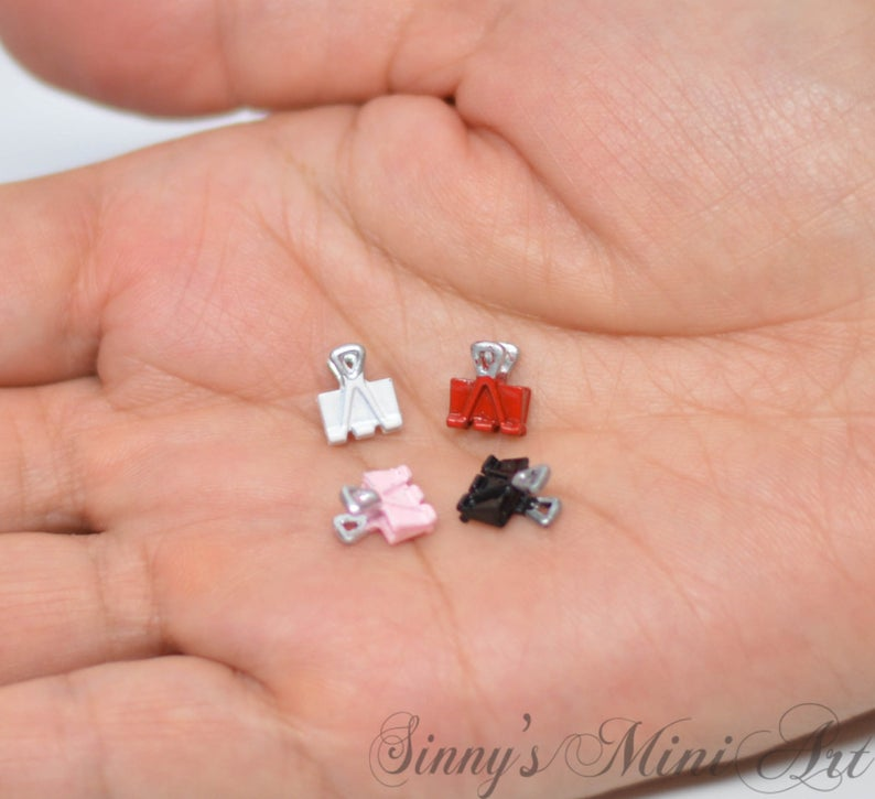 4 PC 1:12 Dollhouse Miniature Binder Clips/ Miniature Office Supply A18