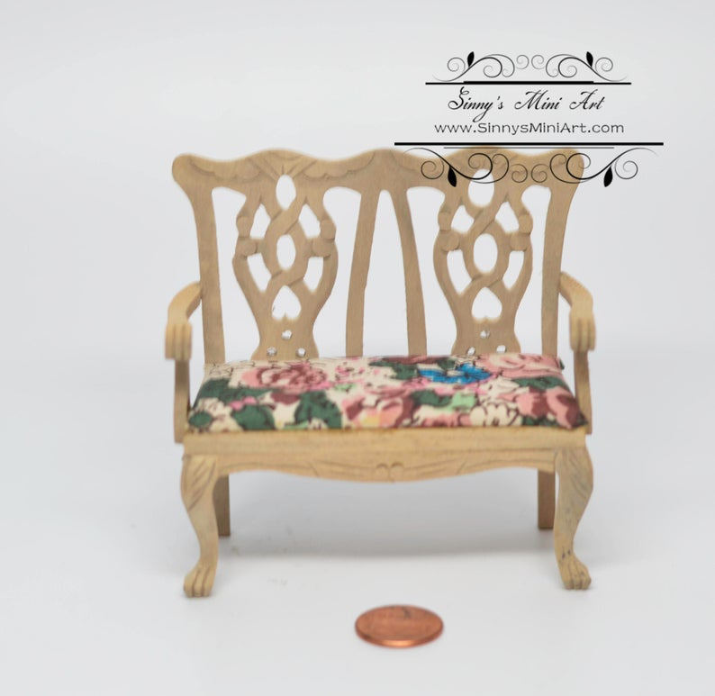 1:12 Dollhouse Miniature Unfinished Double Chair AZ GW069
