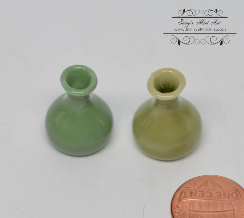 1:12 Dollhouse Miniature Ceramic Olive Vase/ BD B157 B158
