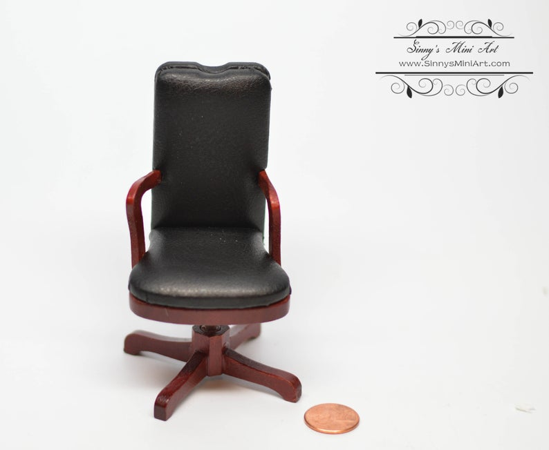 1:12 Dollhouse Miniature Black Swivel Desk Chair/Miniature Furniture AZ M0713