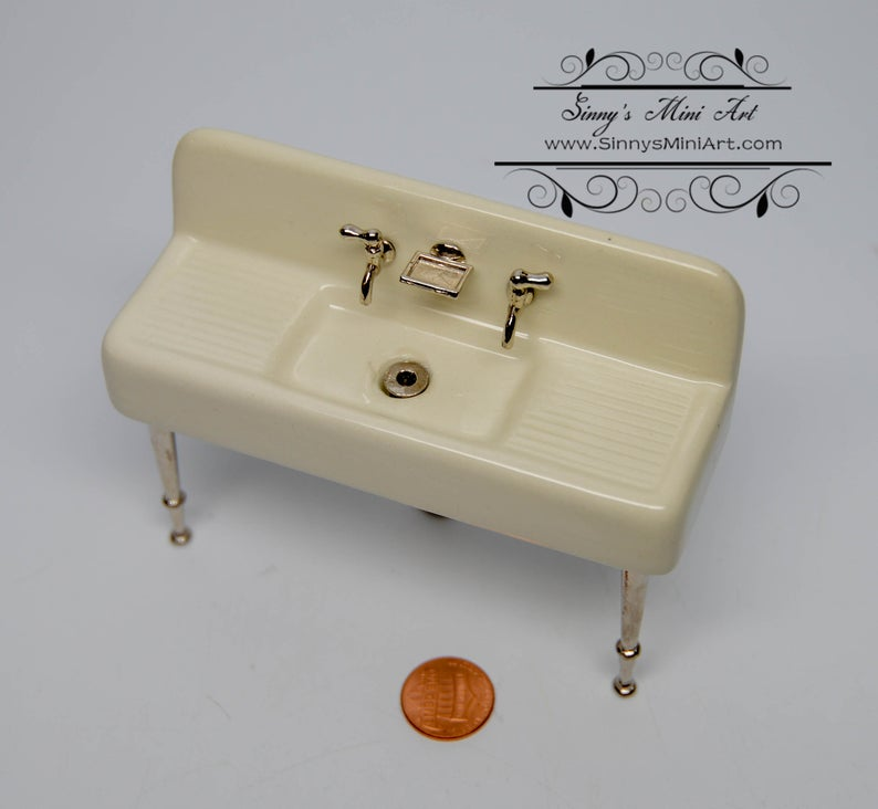1:12 Dollhouse Miniature Porcelain Kitchen Sink/ Miniature Furniture Kit AZ L0001