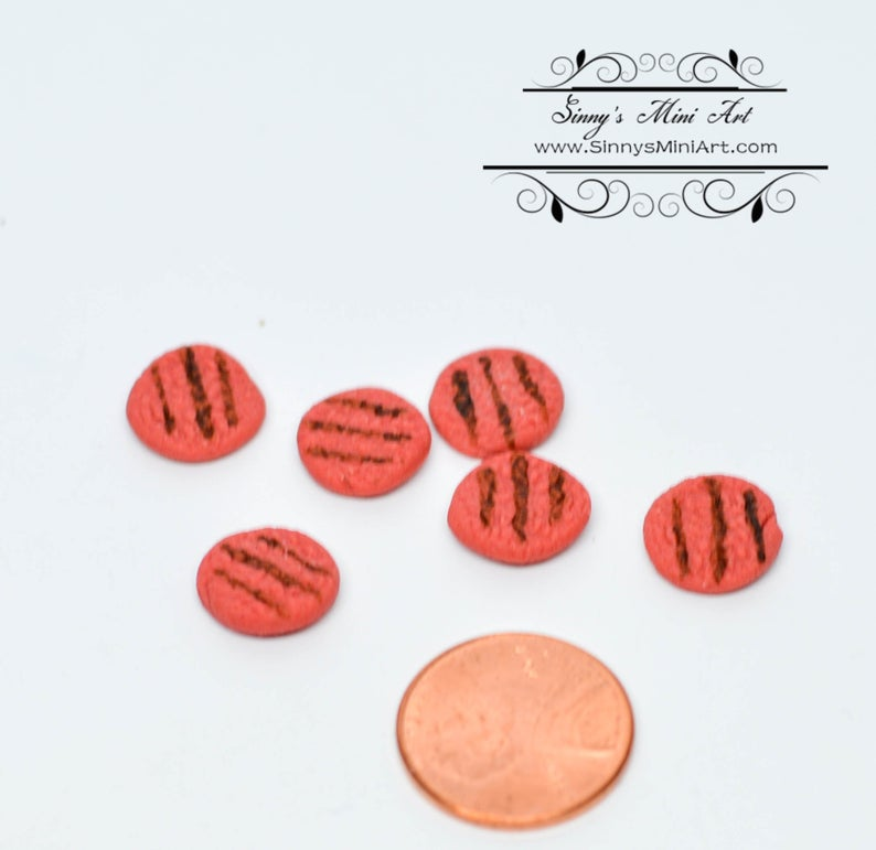 1:12 Dollhouse Miniature Grilled Hamburger Patties, Set of 6 / Miniature Meat BD K3006