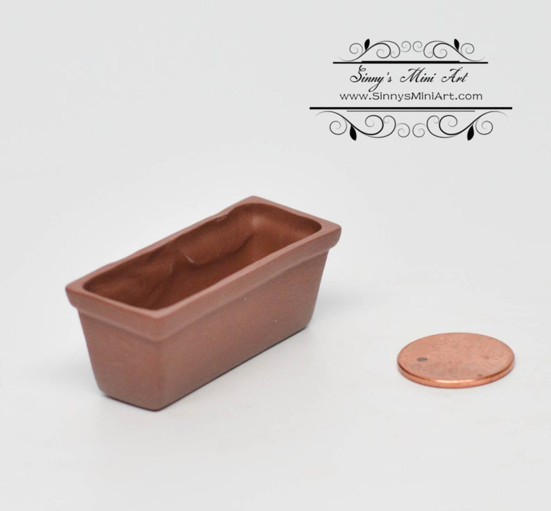 1:12 Dollhouse Miniature Long Terra Cottar Planter/ Miniature Garden BD B022