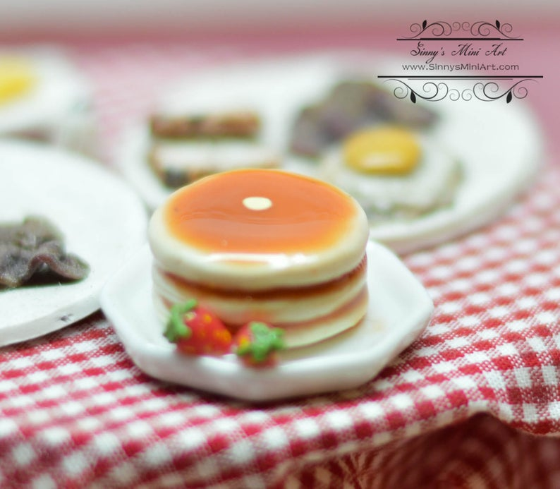 1:12 Dollhouse Miniature Stack of Pancakes on Plate/Miniature Breakfast BD K2659