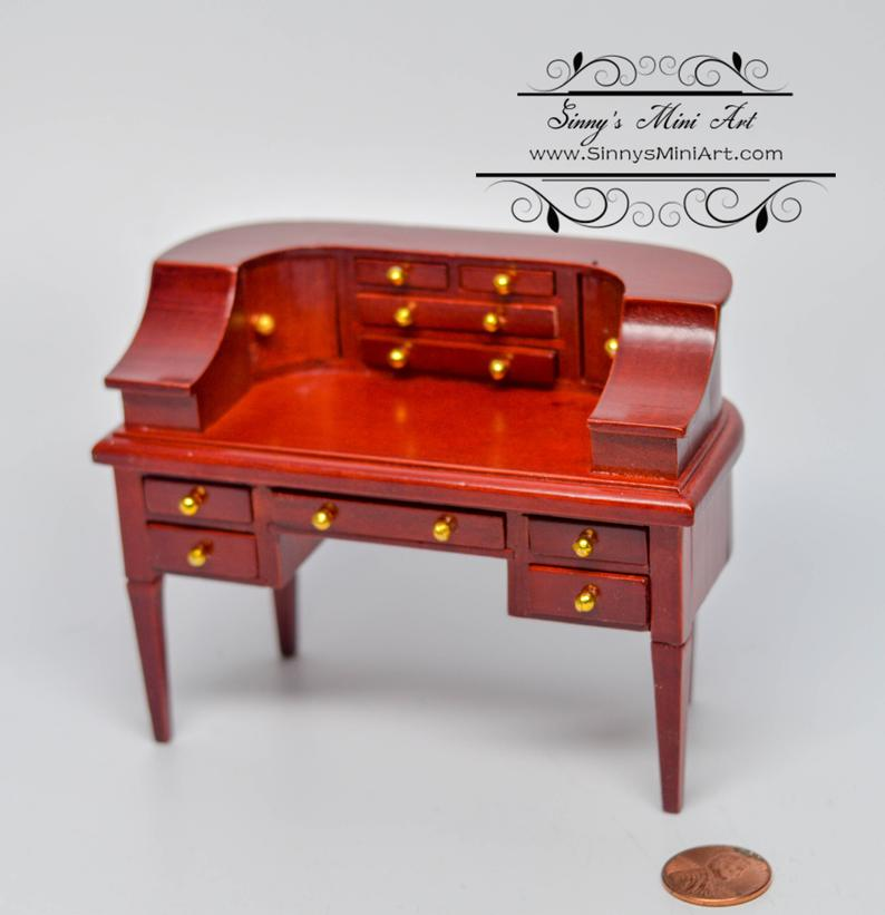 Dis 1:12 Dollhouse Miniature Mahogany Carlton Writing Desk / Miniature Furniture AZ D0675