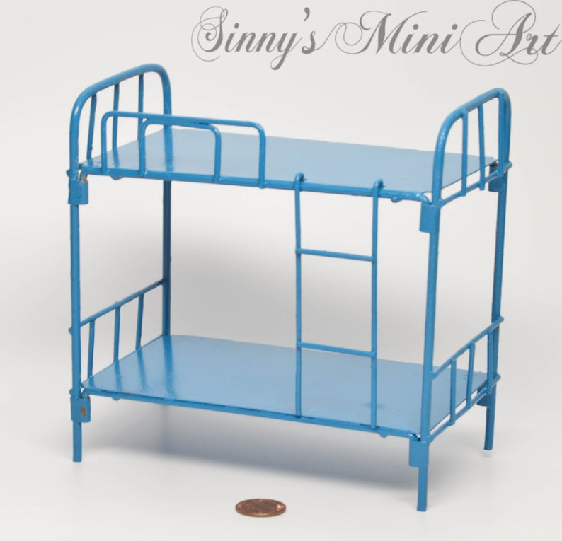 1:12 Dollhouse Miniature Bunk Beds/Blue Miniature Beds/ E20