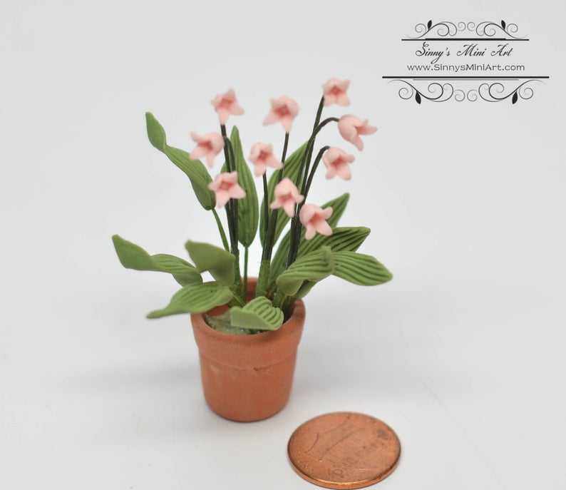 1:12 Dollhouse Miniature Pink Lily of the Valley in Pot A181