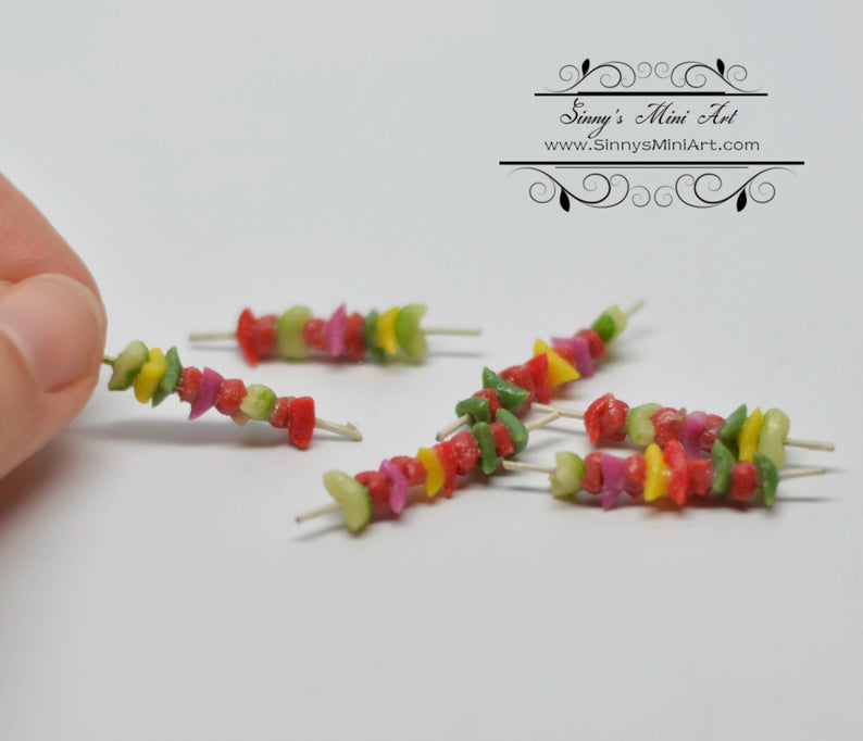 1:12 Dollhouse Miniature Bbq Shish Kabob 6 PC/ Miniature BBQ BD K3009