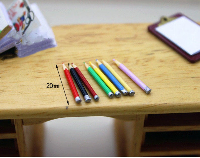 1:12 Dollhouse Miniature Pencil/ Miniature Office Supply Doll Pencil C40