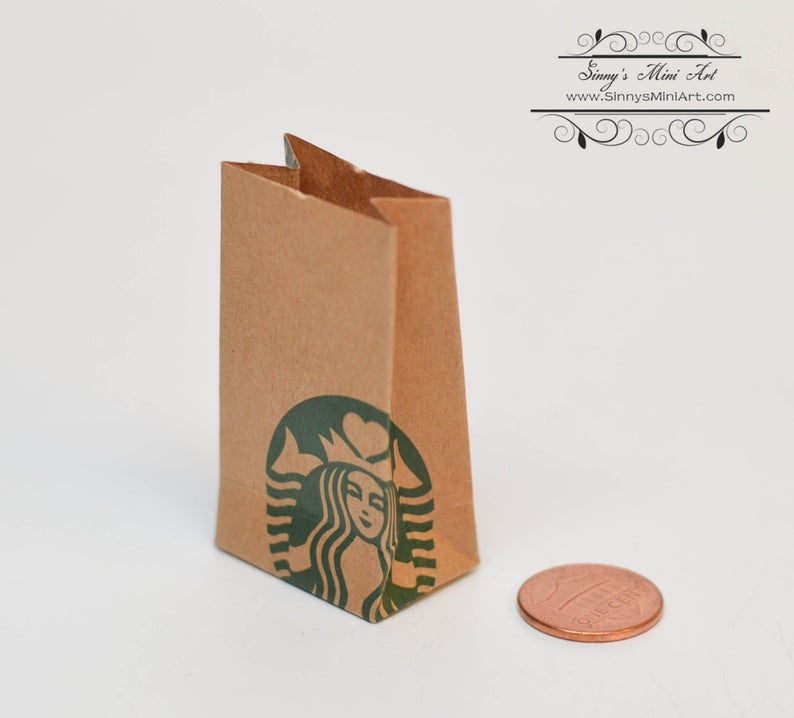 Dollhouse Miniature Starbucks Shopping Bags A48