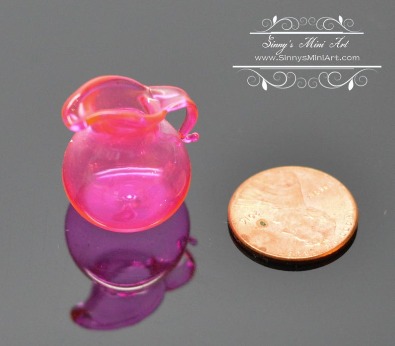 1:12 Dollhouse Miniature Pink Glass Flared Pitcher BD HB051